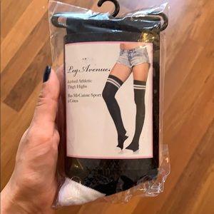 Ribbed Athletic Thigh High Socks - Black, White